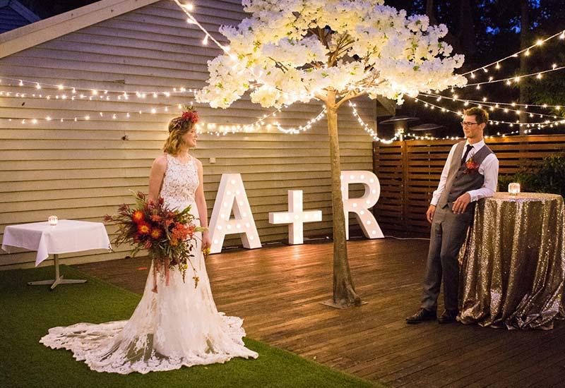 Light up initials 'A+R'