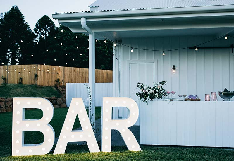Light up letters 'BAR'