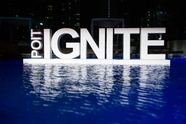 Floating Pool Letters 'POIT IGNITE'