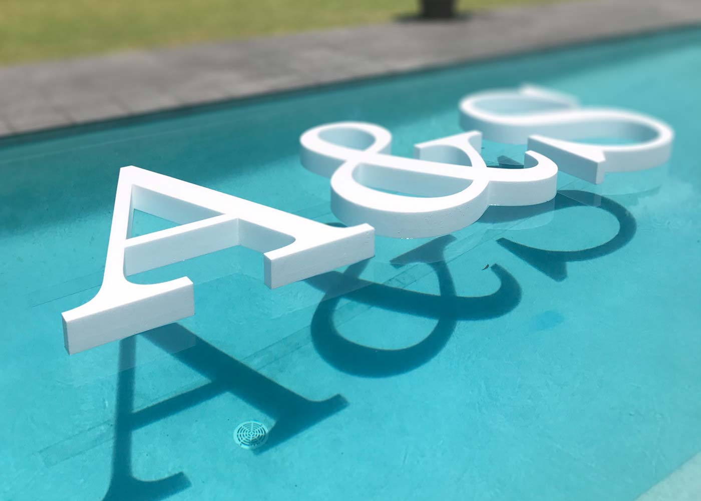 Floating Pool Letters 'A&S'