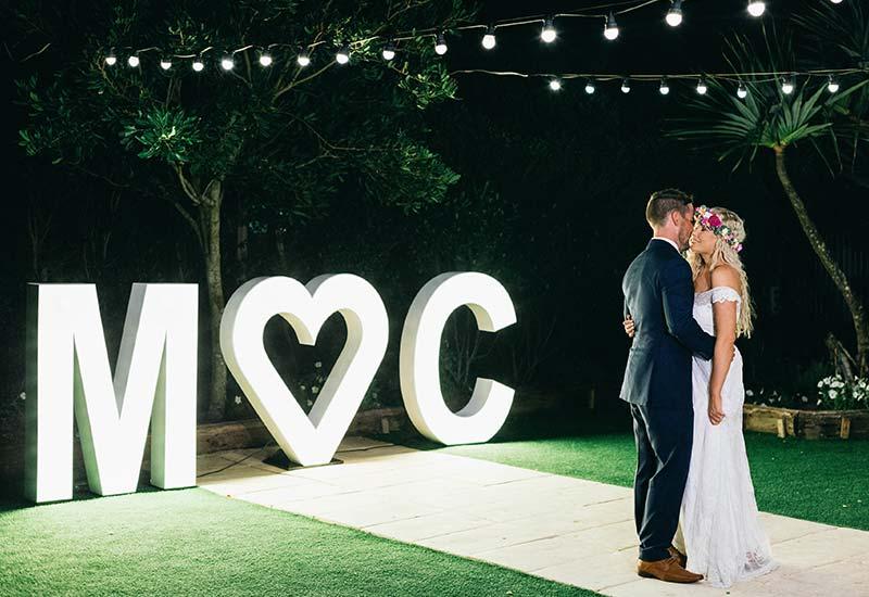 Light up letters 'M heart C'