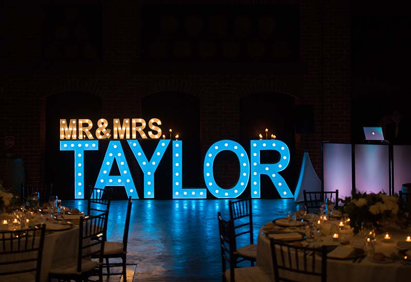 Light up Letters 'MR & MRS TAYLOR'
